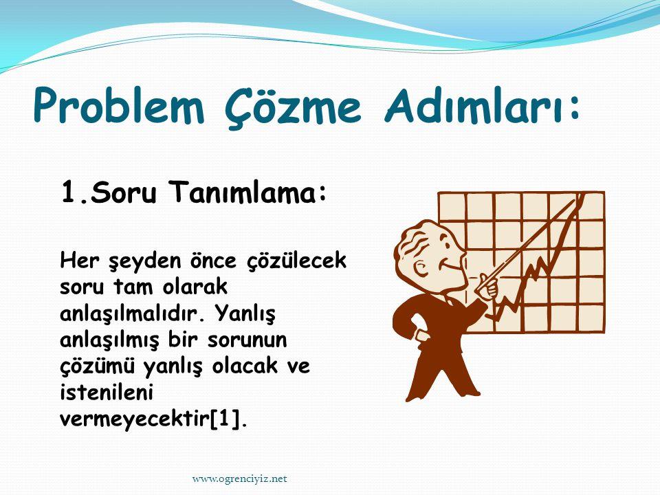 Problem Çözme Adımları: 1.Soru Tanımlama: Her şeyden önce çözülecek soru tam olarak anlaşılmalıdır.