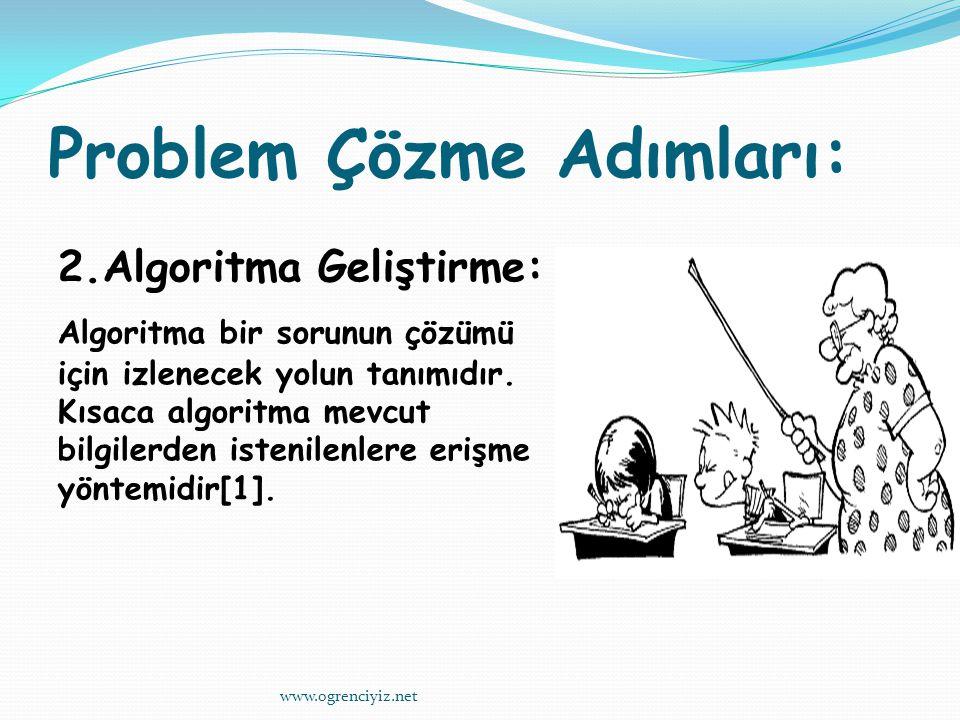 Problem Çözme Adımları: 2.Algoritma Geliştirme: Algoritma bir sorunun çözümü için izlenecek yolun tanımıdır.