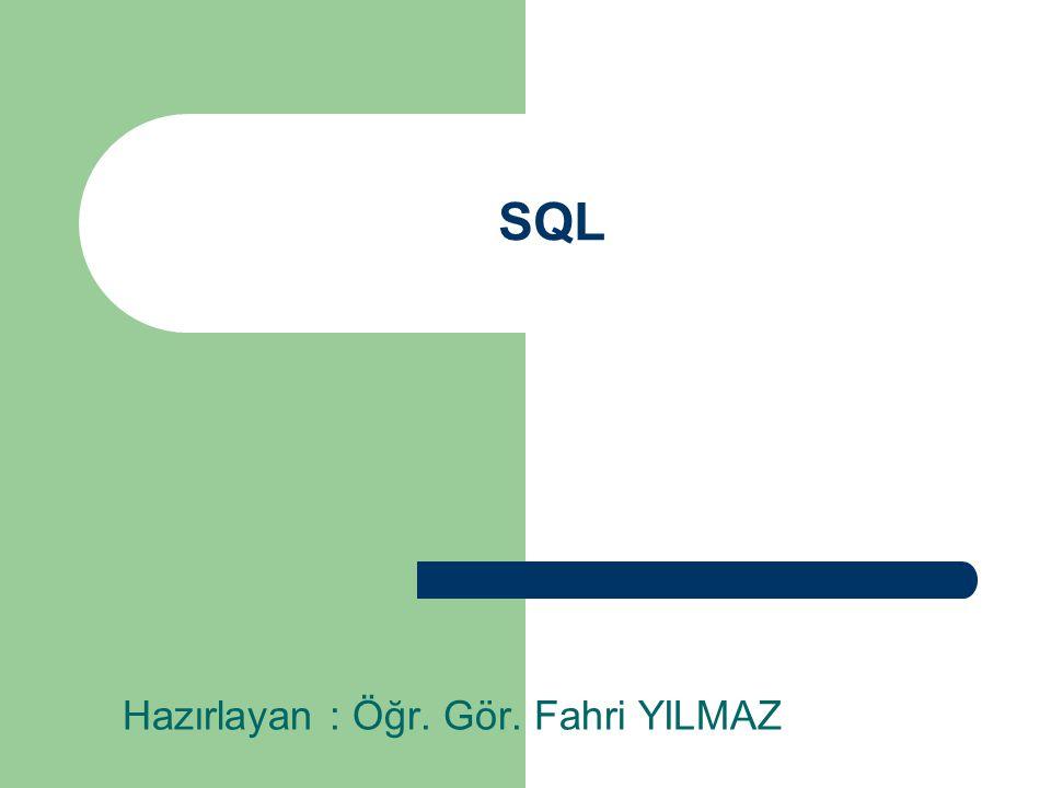 SQL NEDİR?  SQL  Structured Query Language  Yapısal Sorgulama Dili