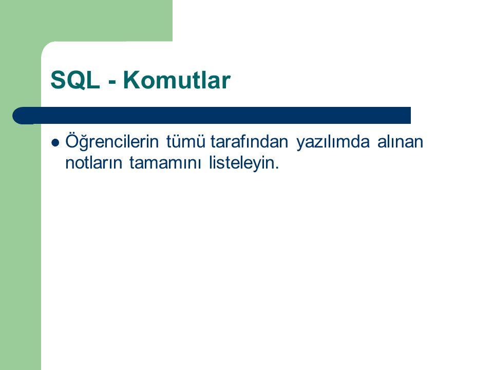 SQL - Komutlar  Öğrencilerin tümü tarafından yazılımda alınan notların tamamını listeleyin.