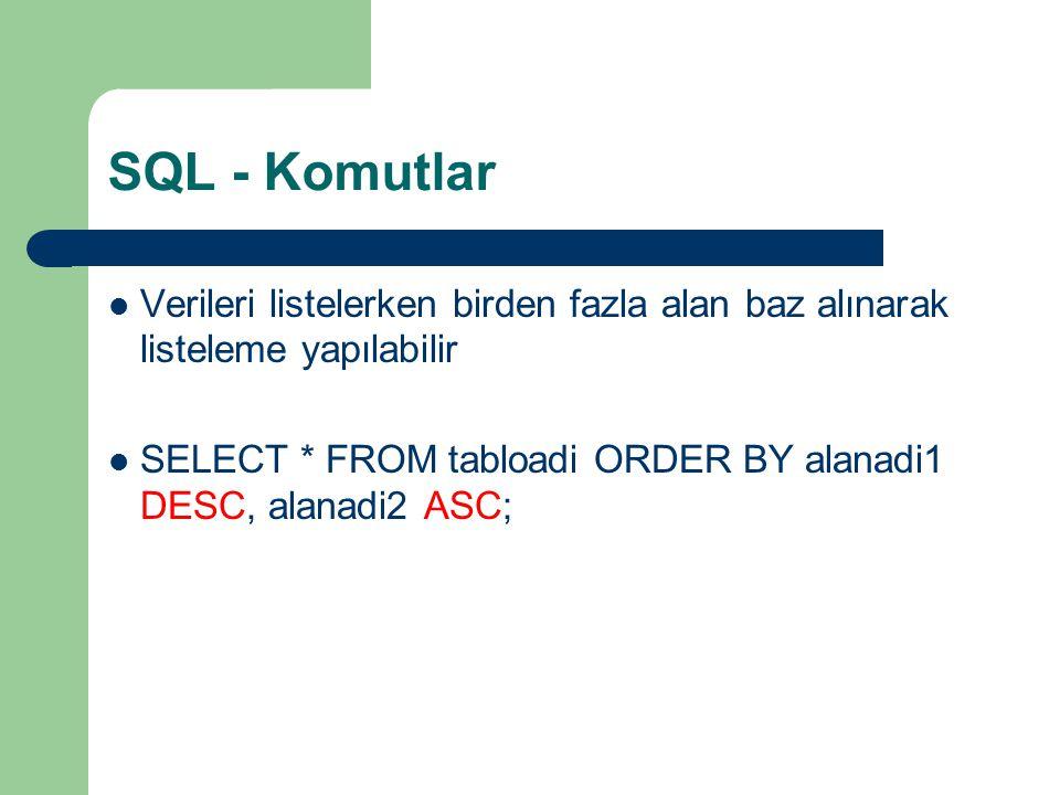 SQL - Komutlar  Verileri listelerken birden fazla alan baz alınarak listeleme yapılabilir  SELECT * FROM tabloadi ORDER BY alanadi1 DESC, alanadi2 A