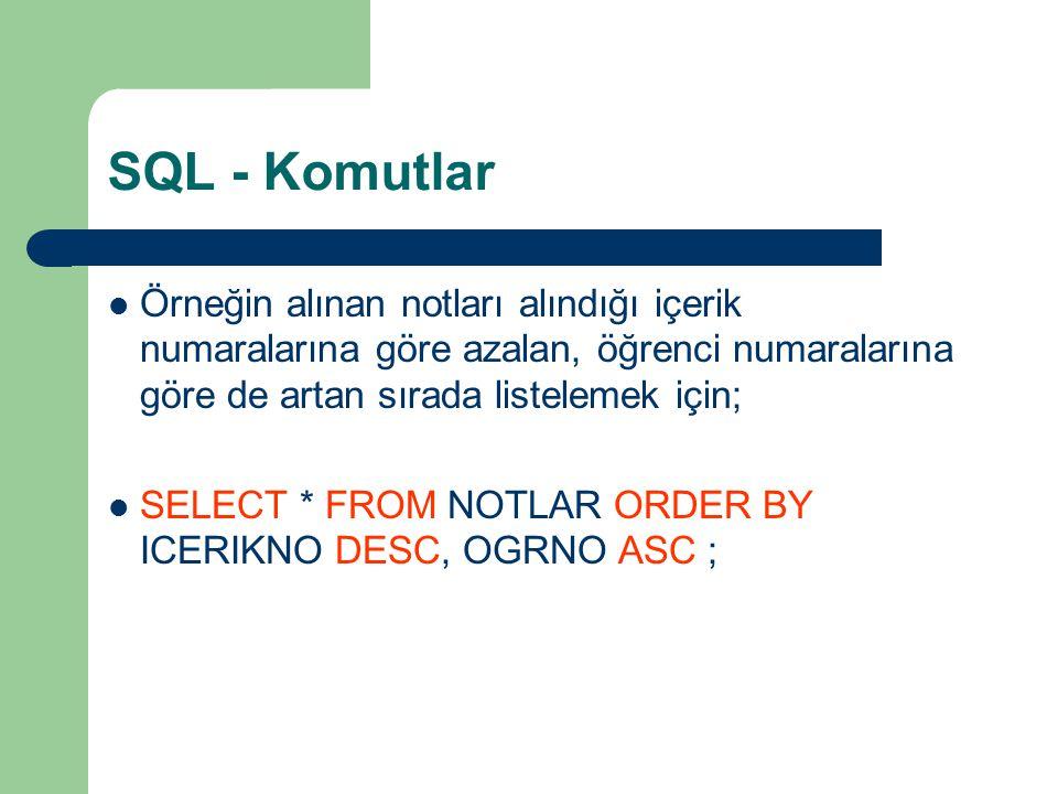 SQL - Komutlar  Örneğin alınan notları alındığı içerik numaralarına göre azalan, öğrenci numaralarına göre de artan sırada listelemek için;  SELECT * FROM NOTLAR ORDER BY ICERIKNO DESC, OGRNO ASC ;