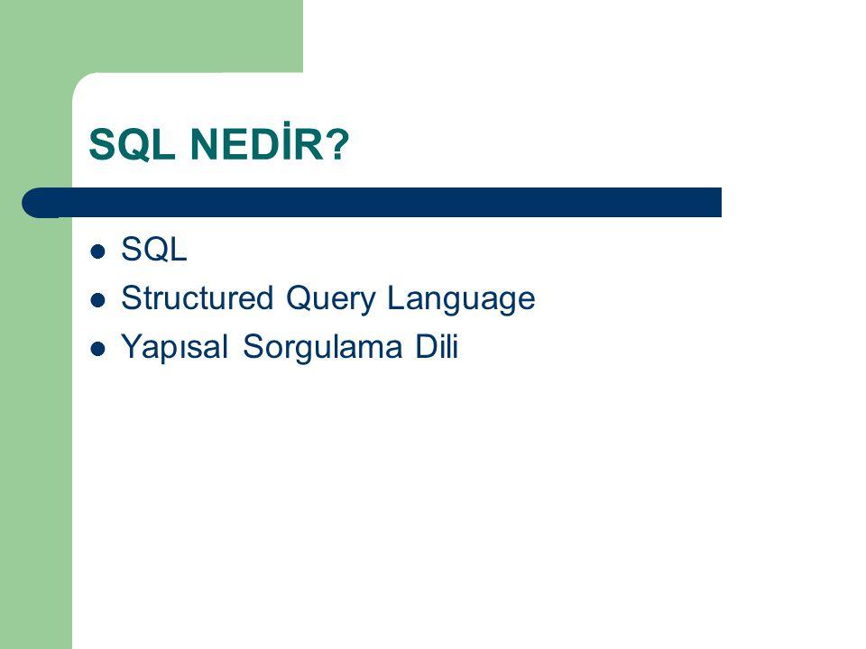 SQL - Select Komutu  Verileri listelerken belli bir alandaki verilere göre sıralamak için;  SELECT * FROM tablo_adi ORDER BY alan1;