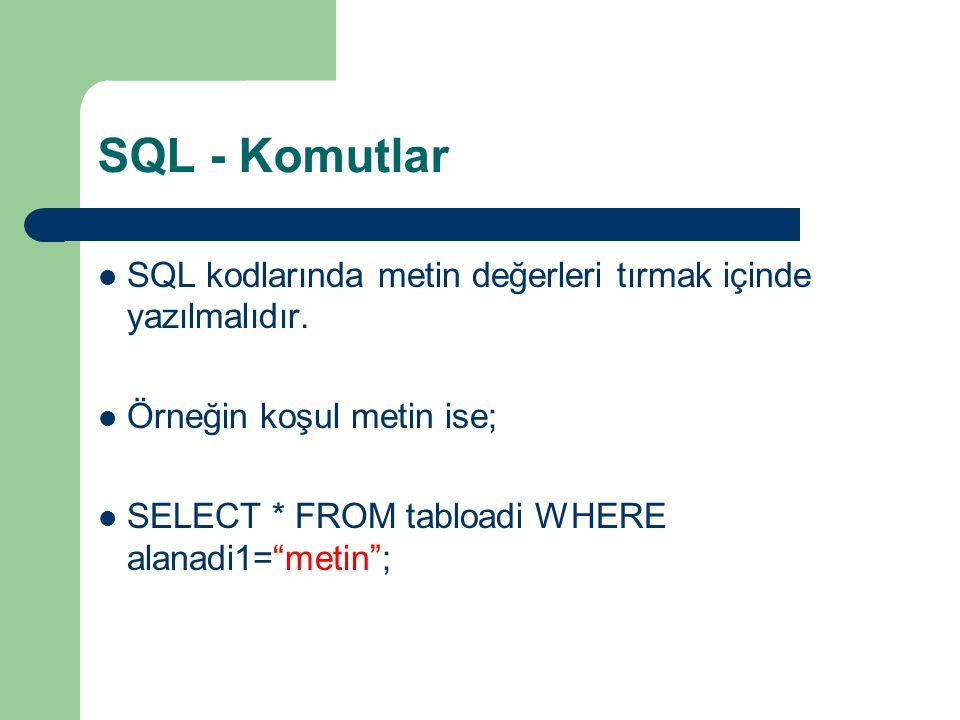 """SQL - Komutlar  SQL kodlarında metin değerleri tırmak içinde yazılmalıdır.  Örneğin koşul metin ise;  SELECT * FROM tabloadi WHERE alanadi1=""""metin"""""""