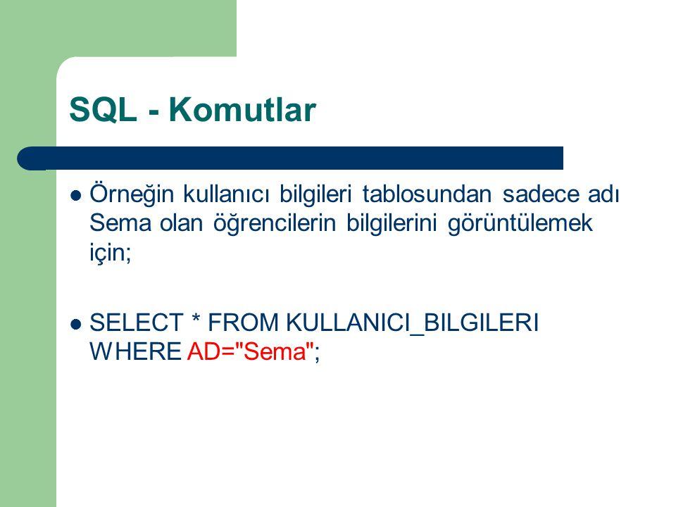 SQL - Komutlar  Örneğin kullanıcı bilgileri tablosundan sadece adı Sema olan öğrencilerin bilgilerini görüntülemek için;  SELECT * FROM KULLANICI_BI