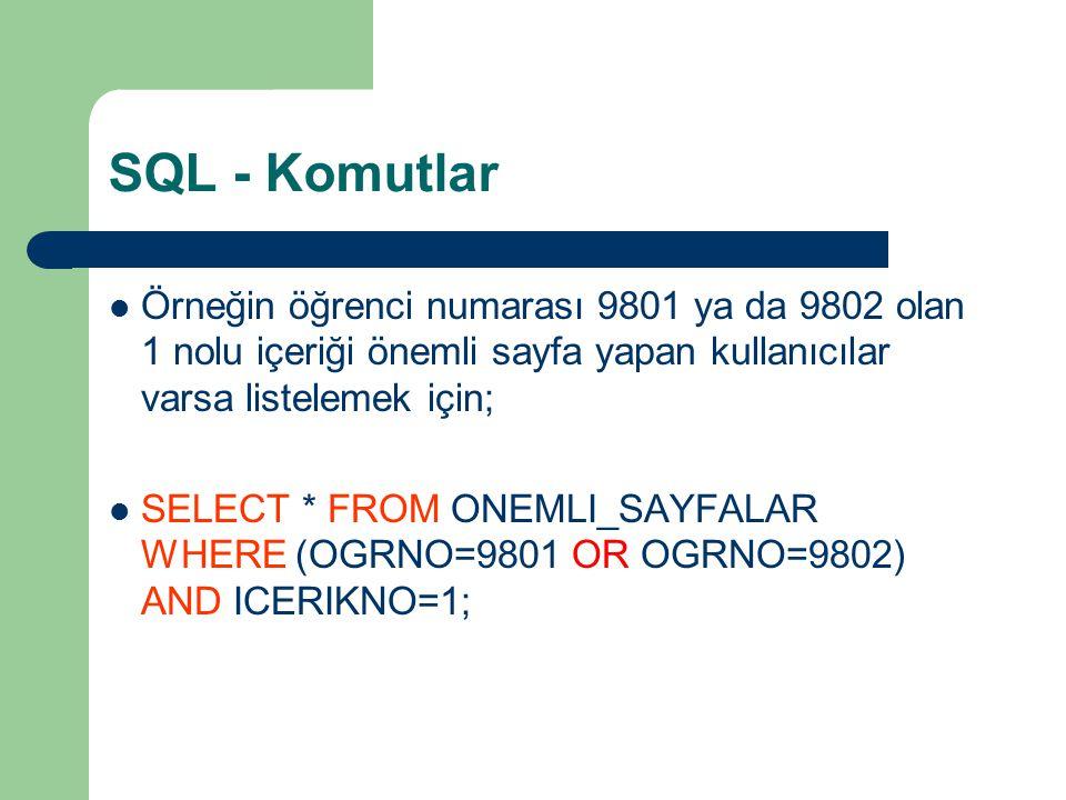 SQL - Komutlar  Örneğin öğrenci numarası 9801 ya da 9802 olan 1 nolu içeriği önemli sayfa yapan kullanıcılar varsa listelemek için;  SELECT * FROM O