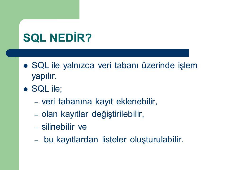 SQL NEDİR?  SQL ile yalnızca veri tabanı üzerinde işlem yapılır.  SQL ile; – veri tabanına kayıt eklenebilir, – olan kayıtlar değiştirilebilir, – si