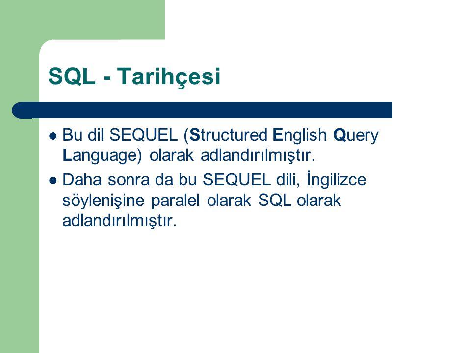 SQL - Tarihçesi  Bu dil SEQUEL (Structured English Query Language) olarak adlandırılmıştır.  Daha sonra da bu SEQUEL dili, İngilizce söylenişine par