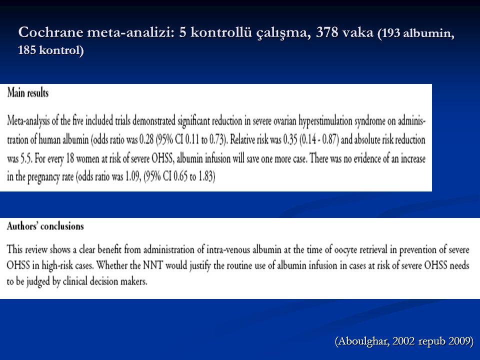 IV Albumin Uygulaması  İlk kez 1993'te Asch ve ark.ı tarafından tanımlandı  Doz: 20-50gm, serum albumin değerinden bağımsız  Uygulama zamanı: Oosit retrieval öncesi, sırası, hemen sonrası