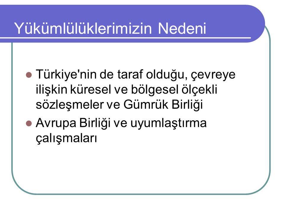 Yükümlülüklerimizin Nedeni  Türkiye nin de taraf olduğu, çevreye ilişkin küresel ve bölgesel ölçekli sözleşmeler ve Gümrük Birliği  Avrupa Birliği ve uyumlaştırma çalışmaları