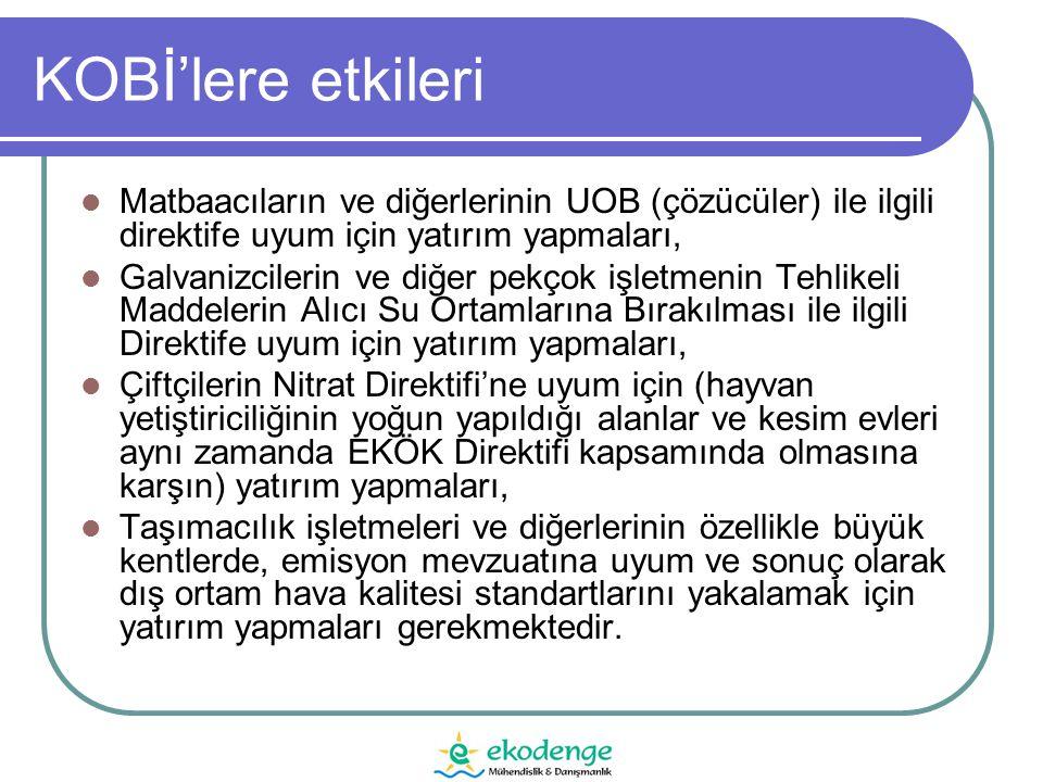 KOBİ'lere etkileri  Matbaacıların ve diğerlerinin UOB (çözücüler) ile ilgili direktife uyum için yatırım yapmaları,  Galvanizcilerin ve diğer pekçok işletmenin Tehlikeli Maddelerin Alıcı Su Ortamlarına Bırakılması ile ilgili Direktife uyum için yatırım yapmaları,  Çiftçilerin Nitrat Direktifi'ne uyum için (hayvan yetiştiriciliğinin yoğun yapıldığı alanlar ve kesim evleri aynı zamanda EKÖK Direktifi kapsamında olmasına karşın) yatırım yapmaları,  Taşımacılık işletmeleri ve diğerlerinin özellikle büyük kentlerde, emisyon mevzuatına uyum ve sonuç olarak dış ortam hava kalitesi standartlarını yakalamak için yatırım yapmaları gerekmektedir.