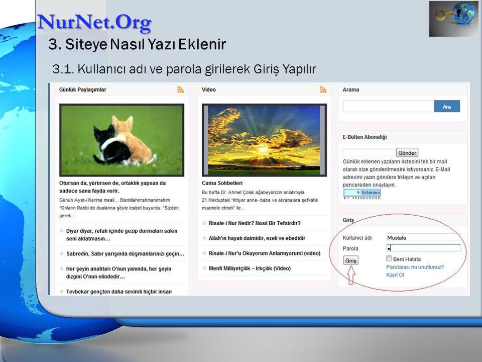 NurNet.Org 3.Siteye Nasıl Yazı Eklenir 3.9.