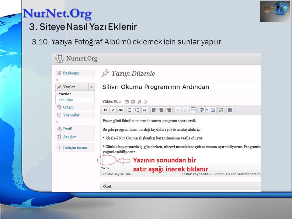 NurNet.Org 3. Siteye Nasıl Yazı Eklenir 3.10. Yazıya Fotoğraf Albümü eklemek için şunlar yapılır