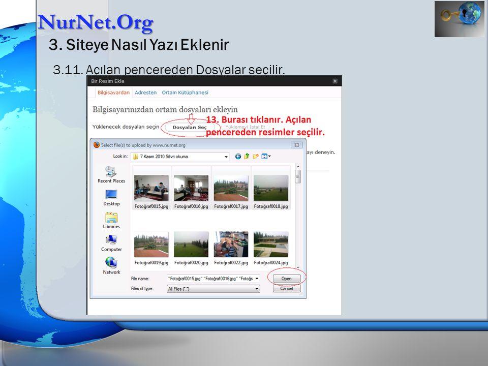 NurNet.Org 3. Siteye Nasıl Yazı Eklenir 3.11. Açılan pencereden Dosyalar seçilir.