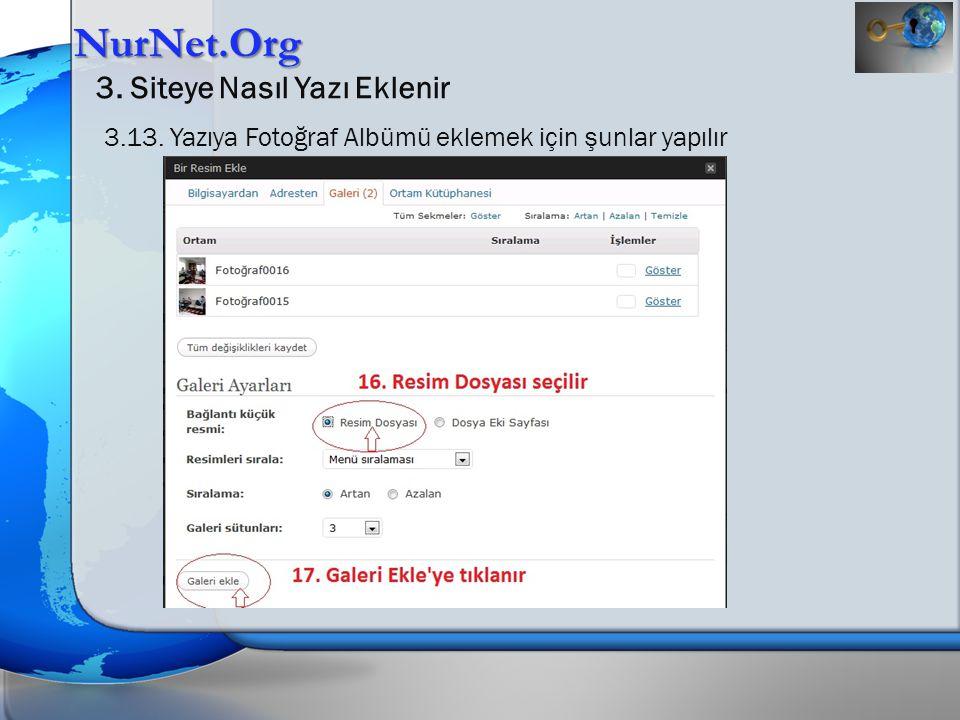 NurNet.Org 3. Siteye Nasıl Yazı Eklenir 3.13. Yazıya Fotoğraf Albümü eklemek için şunlar yapılır