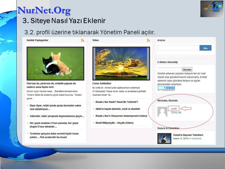NurNet.Org 3. Siteye Nasıl Yazı Eklenir 3.2. profil üzerine tıklanarak Yönetim Paneli açılır.
