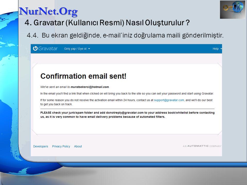 NurNet.Org 4. Gravatar (Kullanıcı Resmi) Nasıl Oluşturulur ? 4.4. Bu ekran geldiğinde, e-mail'iniz doğrulama maili gönderilmiştir.