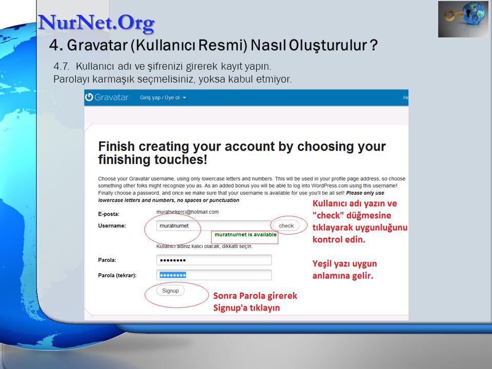NurNet.Org 4. Gravatar (Kullanıcı Resmi) Nasıl Oluşturulur ? 4.7. Kullanıcı adı ve şifrenizi girerek kayıt yapın. Parolayı karmaşık seçmelisiniz, yoks