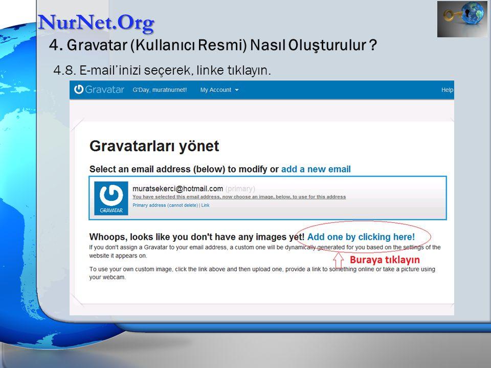 NurNet.Org 4. Gravatar (Kullanıcı Resmi) Nasıl Oluşturulur ? 4.8. E-mail'inizi seçerek, linke tıklayın.