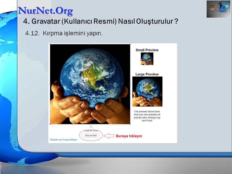 NurNet.Org 4. Gravatar (Kullanıcı Resmi) Nasıl Oluşturulur ? 4.12. Kırpma işlemini yapın.