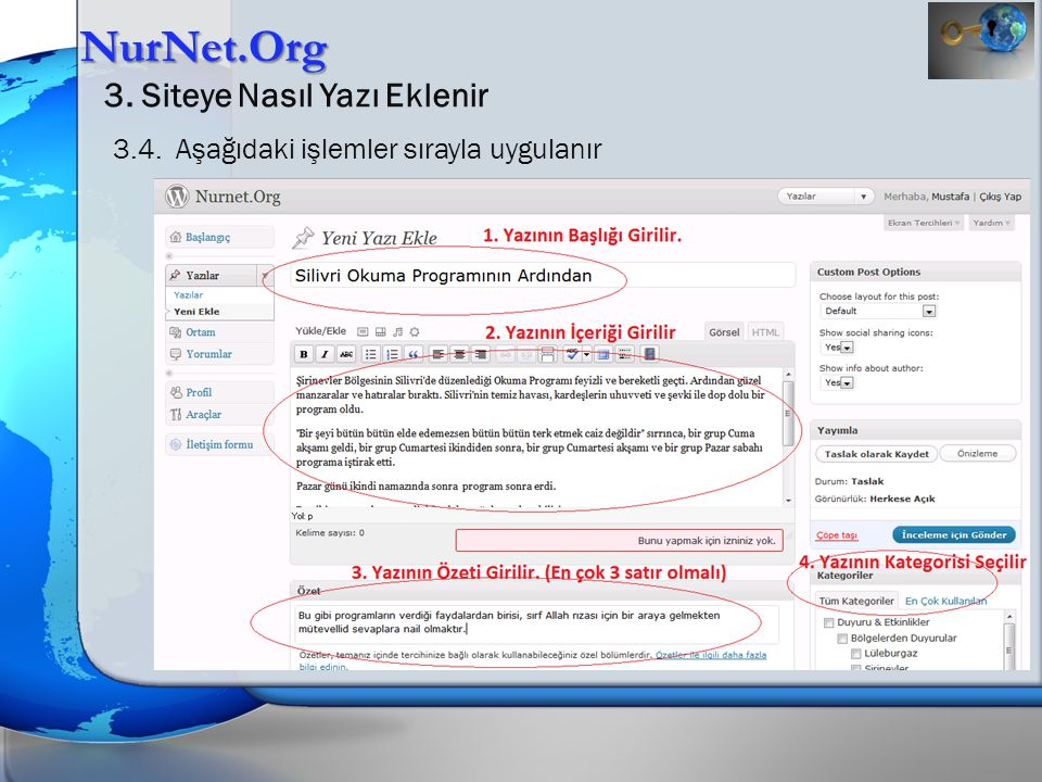 NurNet.Org 3.Siteye Nasıl Yazı Eklenir 3.4.1.