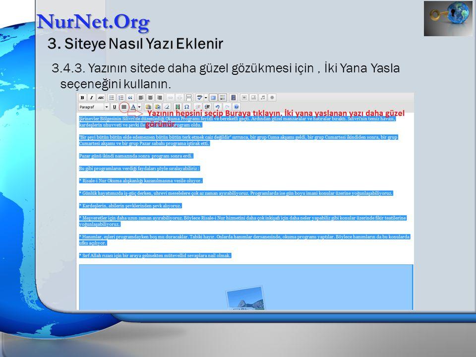 NurNet.Org 3.Siteye Nasıl Yazı Eklenir 3.5. Etiketler eklenir.
