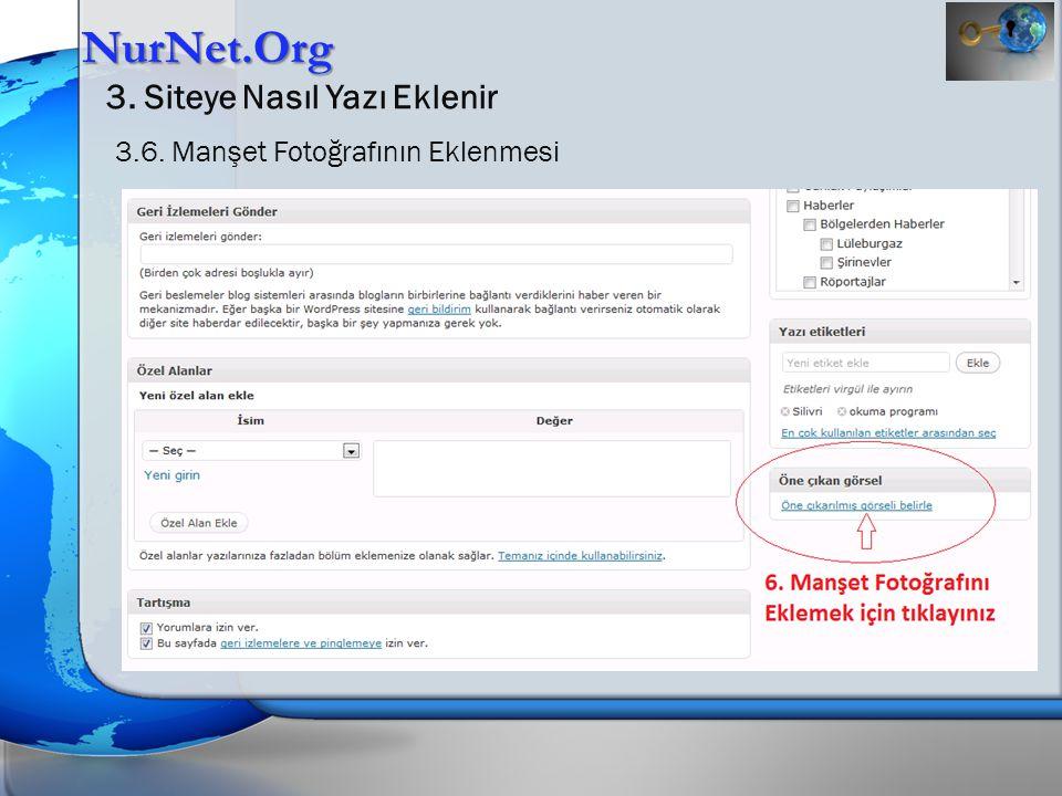 NurNet.Org 3. Siteye Nasıl Yazı Eklenir 3.7. Manşet Fotoğrafının Eklenmesi
