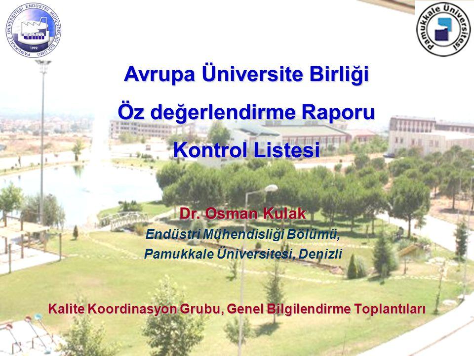 Kalite Koordinasyon Grubu, Genel Bilgilendirme Toplantıları Dr.