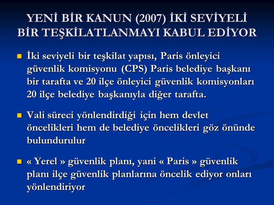 YENİ BİR KANUN (2007) İKİ SEVİYELİ BİR TEŞKİLATLANMAYI KABUL EDİYOR  İki seviyeli bir teşkilat yapısı, Paris önleyici güvenlik komisyonu (CPS) Paris