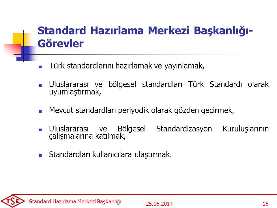 25.06.2014 Standard Hazırlama Merkezi Başkanlığı 16 Standard Hazırlama Merkezi Başkanlığı- Görevler  Türk standardlarını hazırlamak ve yayınlamak, 