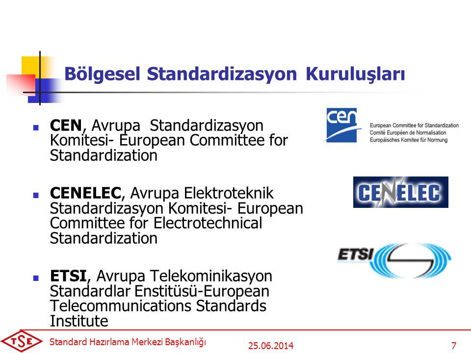 25.06.2014 Standard Hazırlama Merkezi Başkanlığı 8 Uluslararası Standardizasyon Kuruluşları  ISO, Uluslararası Standardizasyon Teşkilatı- International Organization for Standardization,  IEC, Uluslararası Elektroteknik Komisyonu- International Electrotechnical Commission,  ITU, Uluslararası Telekomünikasyon Birliği- International Telecommunication Union