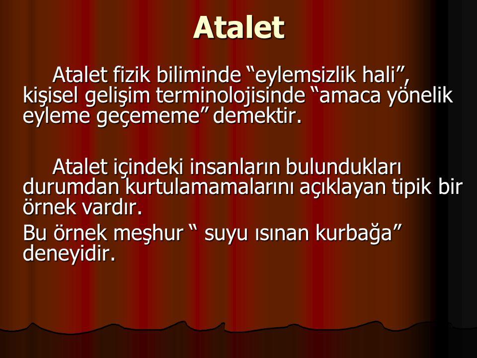 Atalet Atalet fizik biliminde eylemsizlik hali , kişisel gelişim terminolojisinde amaca yönelik eyleme geçememe demektir.
