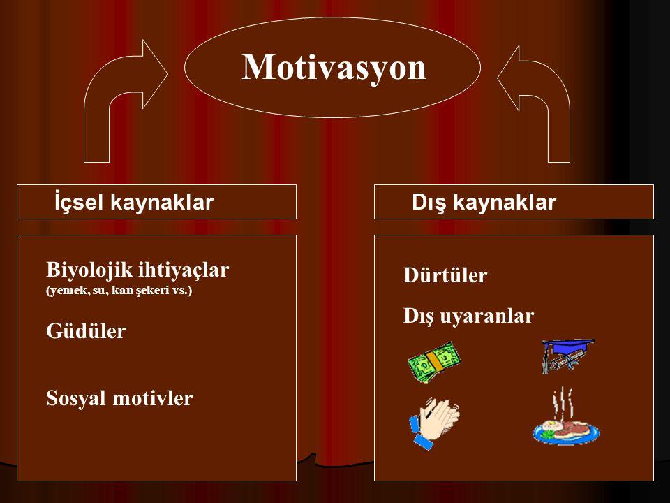 Motivasyon İçsel kaynaklar Dış kaynaklar Dürtüler Dış uyaranlar Sosyal motivler Biyolojik ihtiyaçlar (yemek, su, kan şekeri vs.) Güdüler