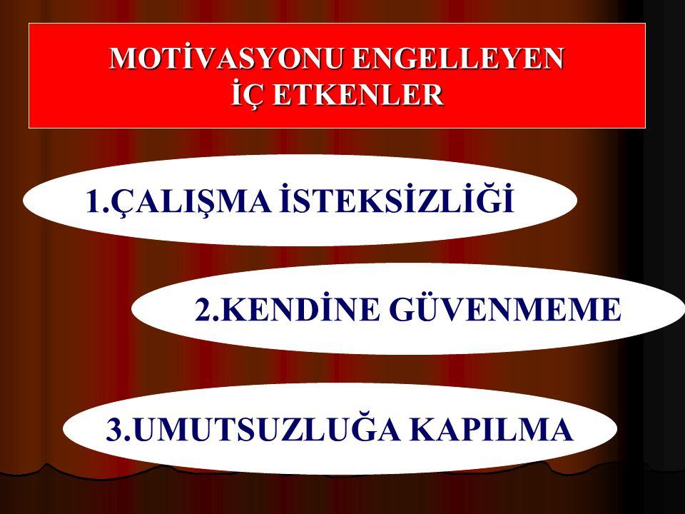 MOTİVASYONU ENGELLEYEN İÇ ETKENLER 1.ÇALIŞMA İSTEKSİZLİĞİ 2.KENDİNE GÜVENMEME 3.UMUTSUZLUĞA KAPILMA