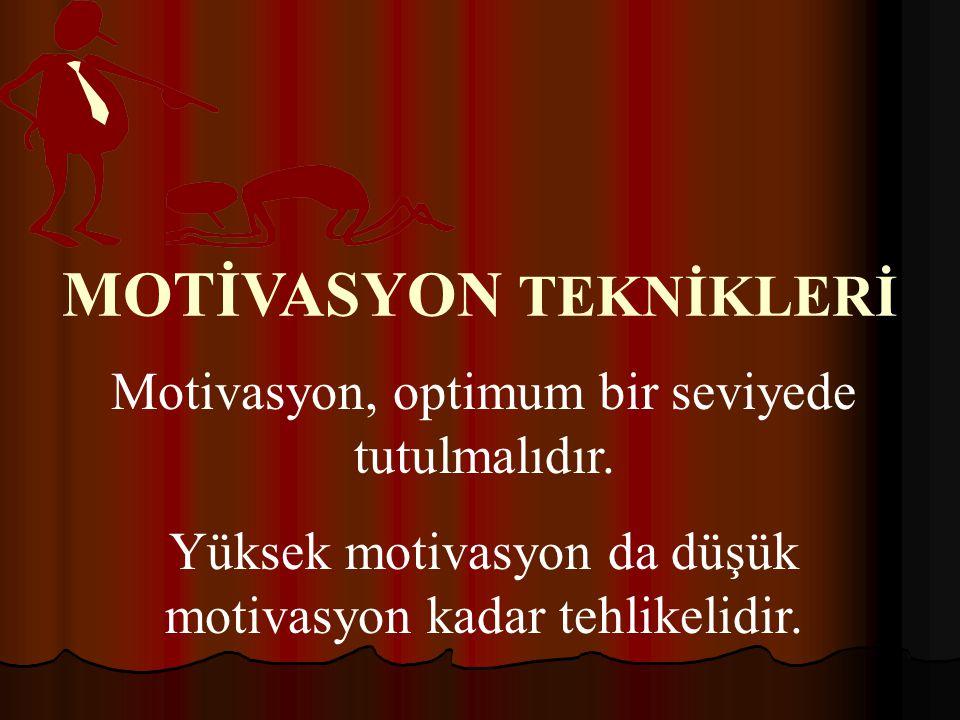 MOTİVASYON TEKNİKLERİ Motivasyon, optimum bir seviyede tutulmalıdır.