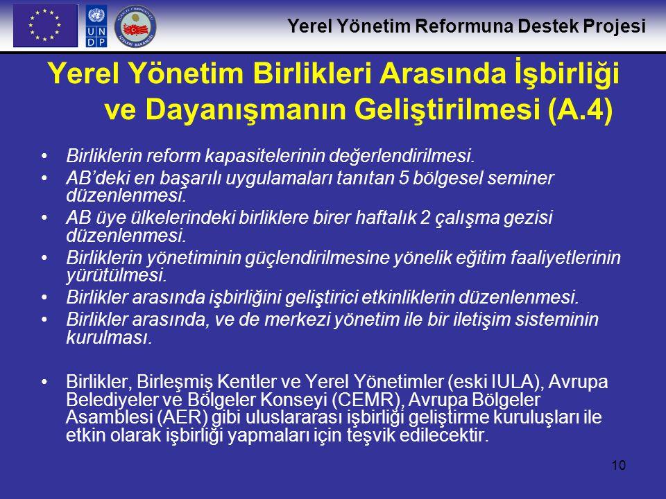 Yerel Yönetim Reformuna Destek Projesi 10 Yerel Yönetim Birlikleri Arasında İşbirliği ve Dayanışmanın Geliştirilmesi (A.4) •Birliklerin reform kapasit