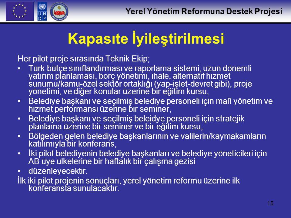 Yerel Yönetim Reformuna Destek Projesi 15 Kapasıte İyileştirilmesi Her pilot proje sırasında Teknik Ekip; •Türk bütçe sınıflandırması ve raporlama sis
