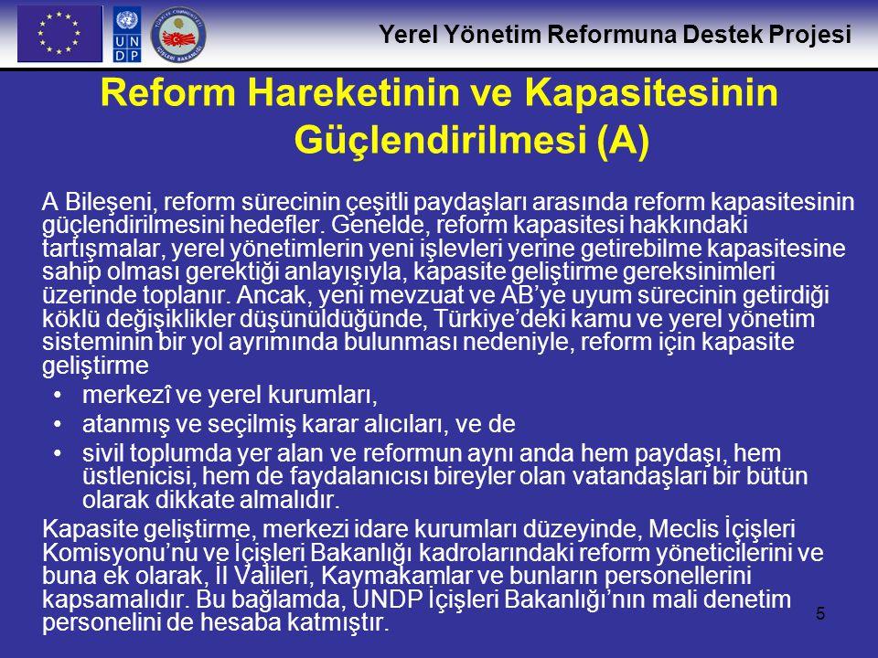 Yerel Yönetim Reformuna Destek Projesi 16 C.1: Küçük ve Orta Ölçekli Belediyeler için Belediye Yönetimi üzerine Eğitim Programı •Mevcut eğitim el kitaplarının gözden geçirilmesi (AB üye ülkelerinde) •Küçük ve orta ölçekli belediyelerdeki eğitim ihtiyacının değerlendirilmesi üzerine İçişleri Bakanlığı, Türkiye Belediyeler Birliği ve eğitim kuruluşları (TODAİE ve diğerleri) arasında diyaloğun geliştirilmesi •Eğitim programının ve müfredatın geliştirilmesi •Eğitim materyallerinin ayrıntılandırılması ve eğiticilerin eğitimi dersi olarak programın ilk versiyonunun TODAİE tarafından uygulanması (değişik bölgelerden 12 eğiticinin eğitilmesi) •B Bileşeni altında ilk iki pilot proje bağlamında programın denenmesi •Eğitim programının ve kursların iyileştirilmesi ve eğitim materyallerinin yeniden düzenlenmesi •Belediye birlikleri ile işbirliği yaparak ve İçişleri Bakanlığı'nın yerel temsilcilerinin desteği ile programın hedef belediyelerde uygulanması (toplamda farklı bölgelerden en az 500 belediye personelinin eğitilmesi) Reform için İçişleri Bakanlığı ve Yerel Yönetimlerde İnsan Kaynakları Kapasitesinin Geliştirilmesi (C)