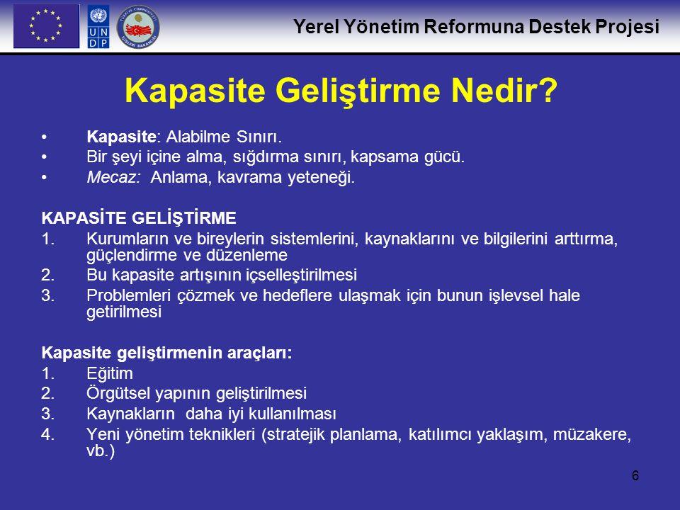 Yerel Yönetim Reformuna Destek Projesi 6 Kapasite Geliştirme Nedir? •Kapasite: Alabilme Sınırı. •Bir şeyi içine alma, sığdırma sınırı, kapsama gücü. •