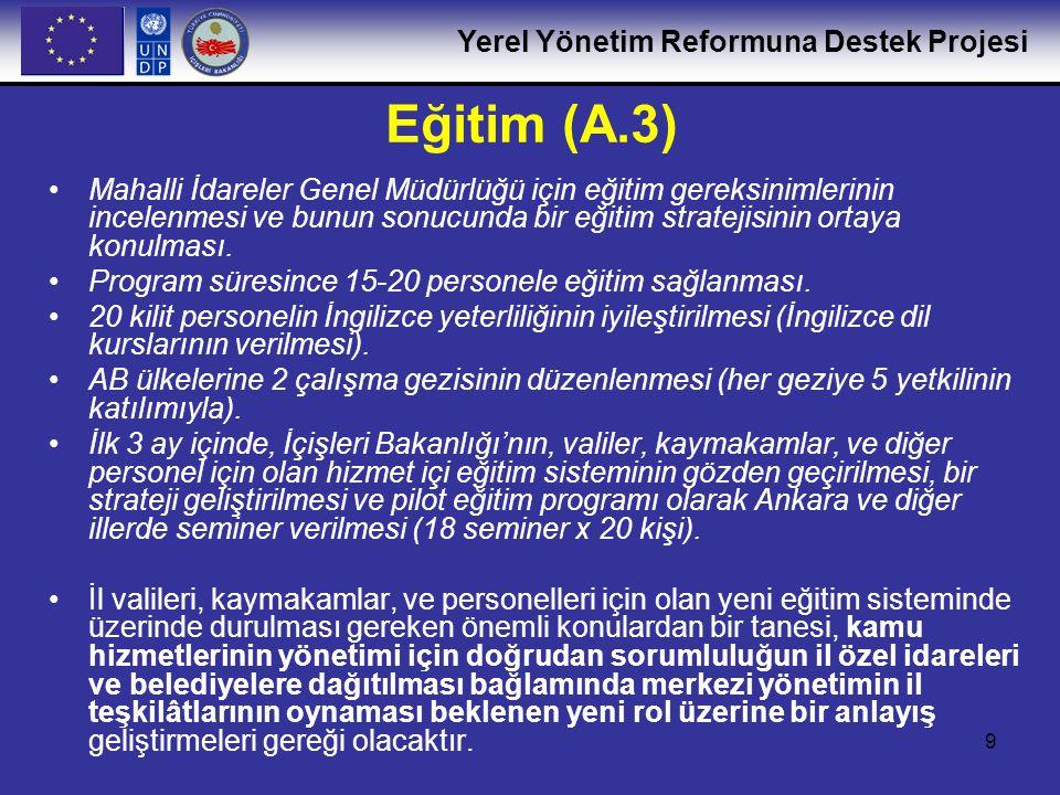 Yerel Yönetim Reformuna Destek Projesi 9 Eğitim (A.3) •Mahalli İdareler Genel Müdürlüğü için eğitim gereksinimlerinin incelenmesi ve bunun sonucunda b