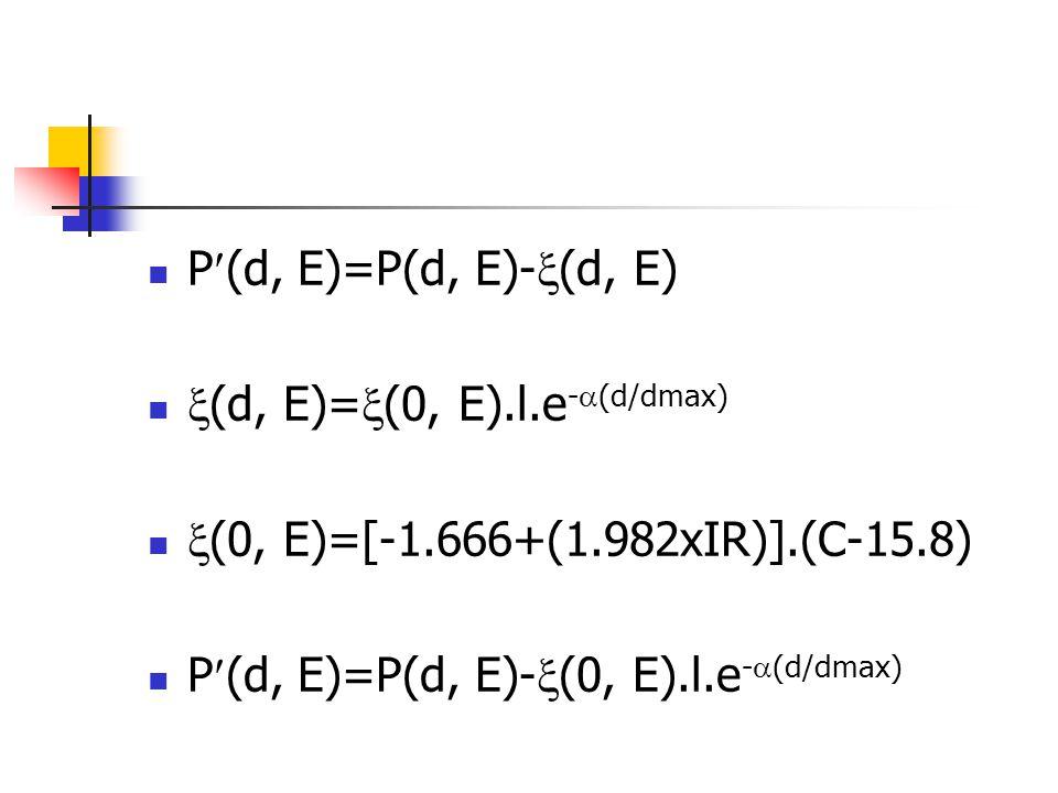  P(d, E)=P(d, E)-  (d, E)   (d, E)=  (0, E).l.e -  (d/dmax)   (0, E)=[-1.666+(1.982xIR)].(C-15.8)  P(d, E)=P(d, E)-  (0, E).l.e -  (d/dmax)