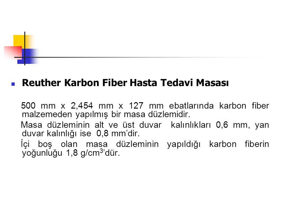  Reuther Karbon Fiber Hasta Tedavi Masası 500 mm x 2,454 mm x 127 mm ebatlarında karbon fiber malzemeden yapılmış bir masa düzlemidir. Masa düzlemini