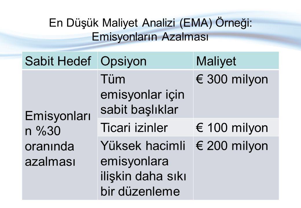 En Düşük Maliyet Analizi (EMA) Örneği: Emisyonların Azalması Sabit HedefOpsiyonMaliyet Emisyonları n %30 oranında azalması Tüm emisyonlar için sabit b
