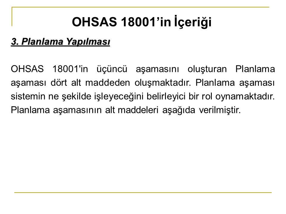 3. Planlama Yapılması OHSAS 18001'in üçüncü aşamasını oluşturan Planlama aşaması dört alt maddeden oluşmaktadır. Planlama aşaması sistemin ne şekilde