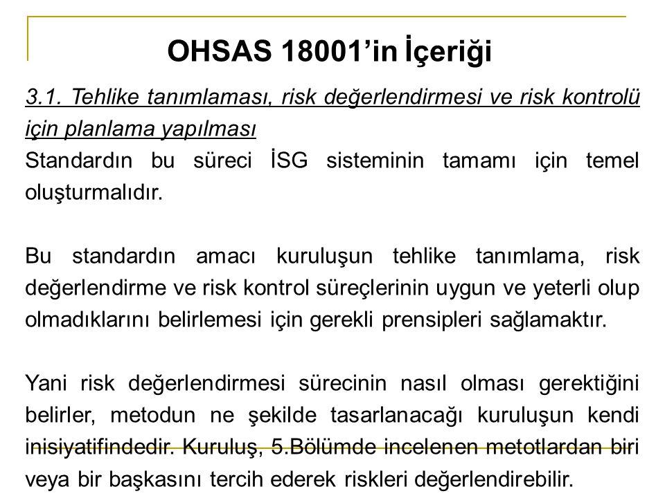 3.1. Tehlike tanımlaması, risk değerlendirmesi ve risk kontrolü için planlama yapılması Standardın bu süreci İSG sisteminin tamamı için temel oluşturm