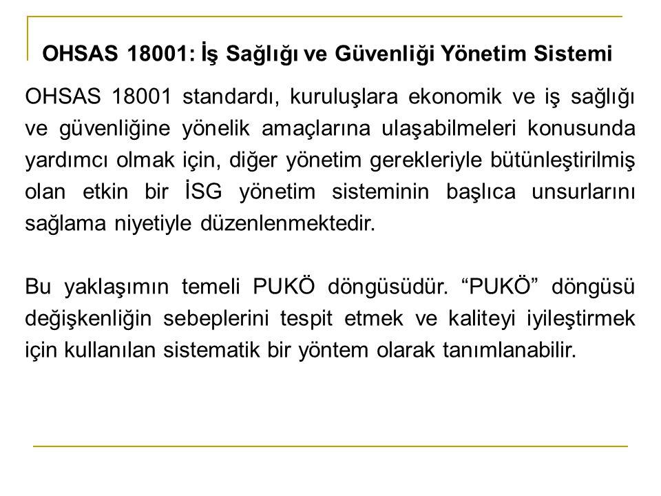 OHSAS 18001 standardı, kuruluşlara ekonomik ve iş sağlığı ve güvenliğine yönelik amaçlarına ulaşabilmeleri konusunda yardımcı olmak için, diğer yöneti