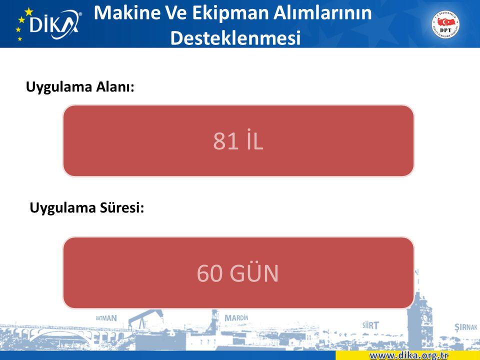 Makine Ve Ekipman Alımlarının Desteklenmesi Uygulama Alanı: 81 İL 60 GÜN Uygulama Süresi: