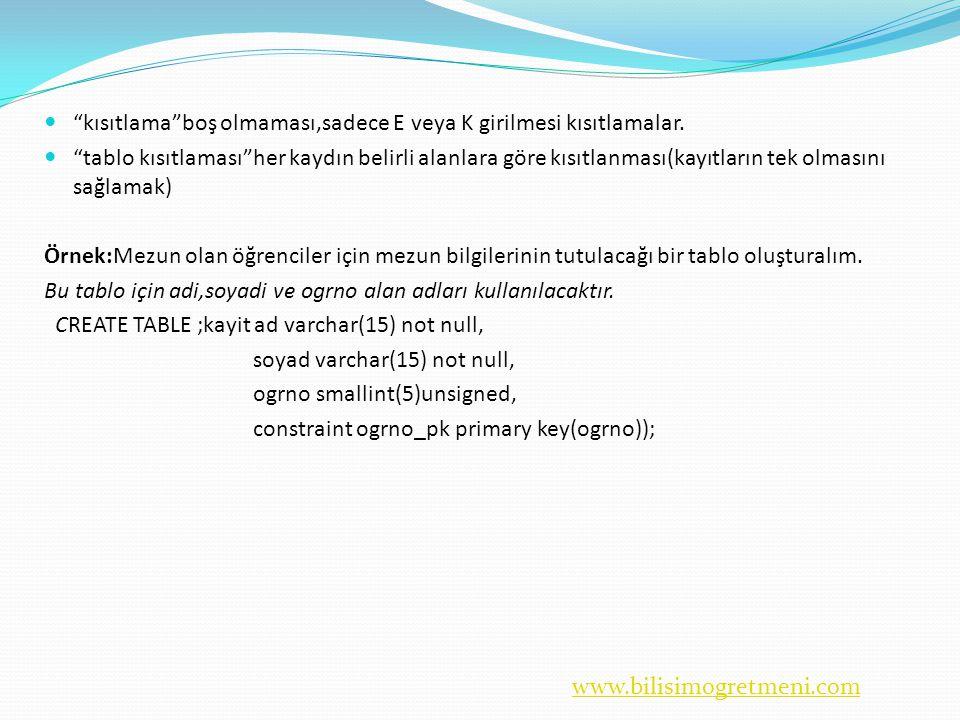 www.bilisimogretmeni.com  kısıtlama boş olmaması,sadece E veya K girilmesi kısıtlamalar.
