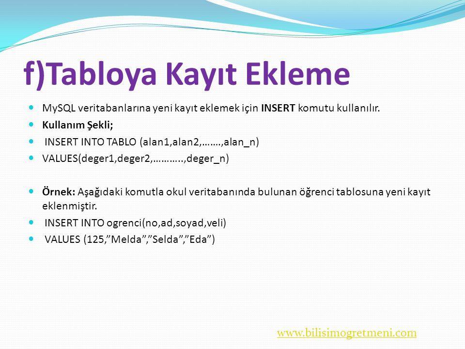 www.bilisimogretmeni.com f)Tabloya Kayıt Ekleme  MySQL veritabanlarına yeni kayıt eklemek için INSERT komutu kullanılır.