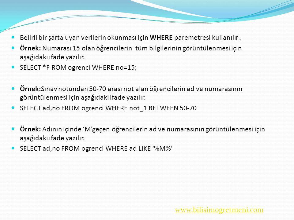 www.bilisimogretmeni.com  Belirli bir şarta uyan verilerin okunması için WHERE paremetresi kullanılır.